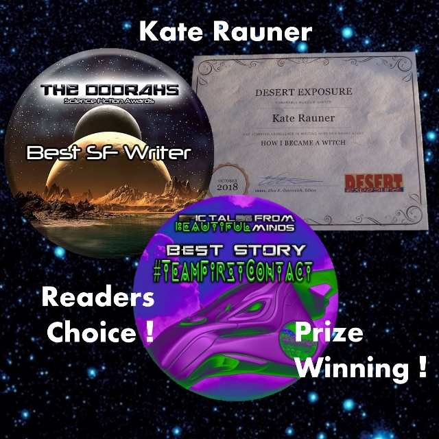 Kate Rauner prize certificate and webzine badges