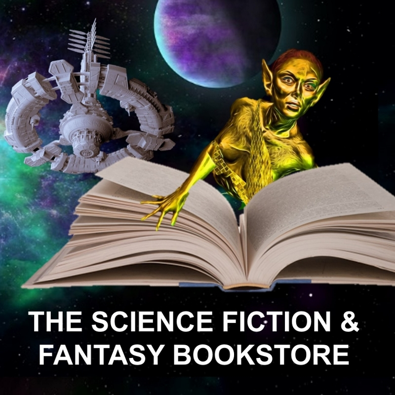 Bookstore Logo Elf Reading with Space Background